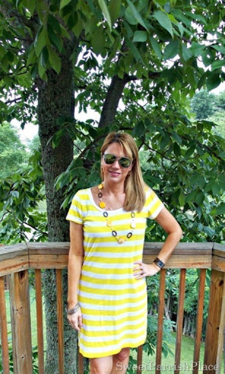 yellow striped shirt dress5