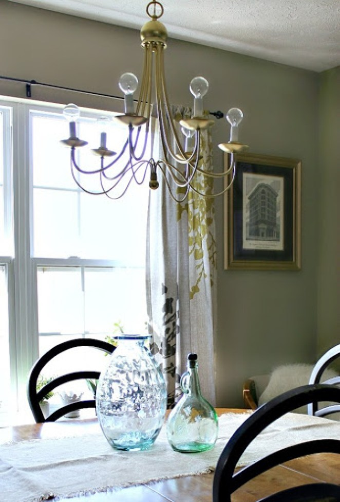 $5 Yard sale chandelier makeover