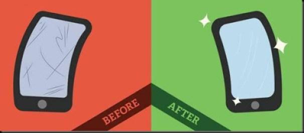 cara membersihkan smartphone dari goresan