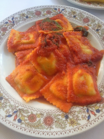 A plate of spinach ravioli