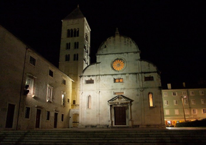 St. Mary's church at night
