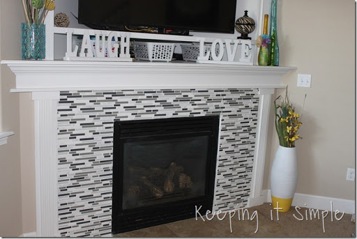fireplace remodel with mosaic tiles