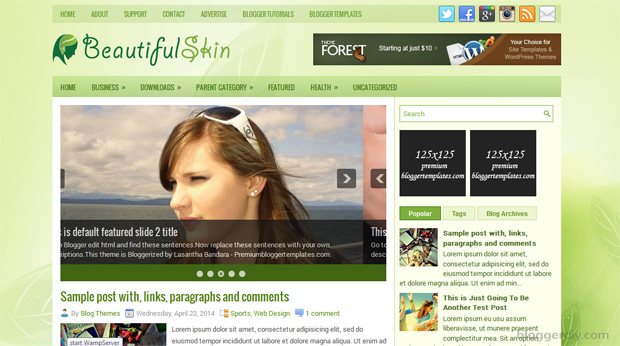 Beautiful Skin Blogger template
