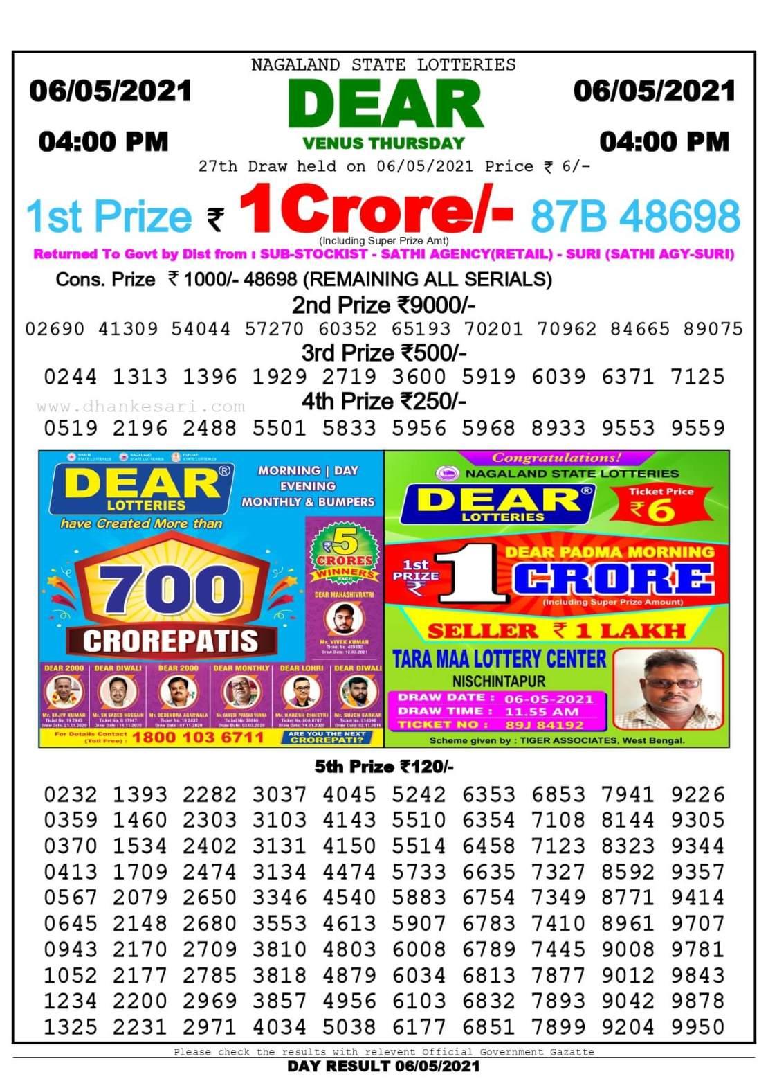 Dhankesari Lottery Sambad Result Today 4:00 PM 6.5.2021