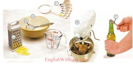 Kitchen equipment – Kitchen Utensils – Kitchenware -Housing – Photo Dictionary