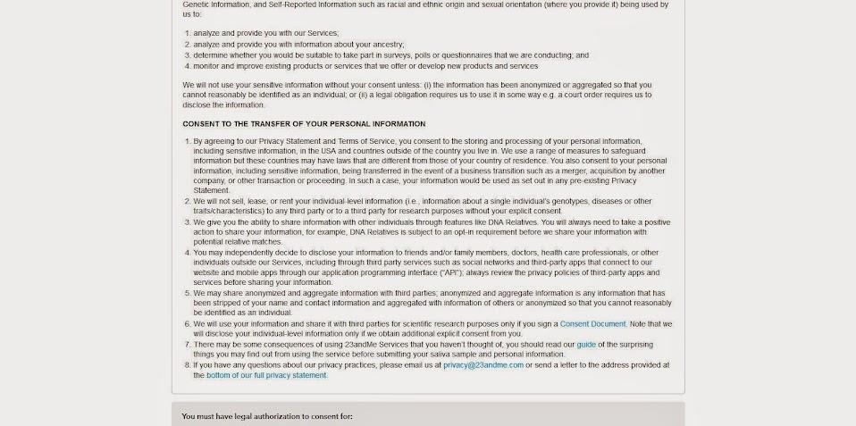 23andMe test kit registration (6/6)