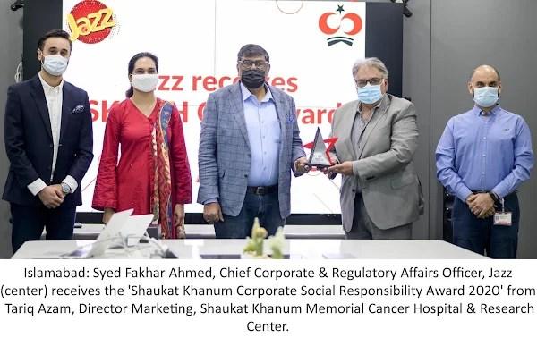 Jazz conferred with the Shaukat Khanum Corporate Social Responsibility Award 2020