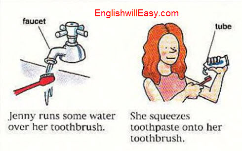 Brushing your teeth, flossing- English Picture Dictionary for Everyday Activities