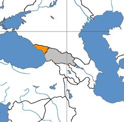Abkhazia (orange), and Georgia proper (grey)