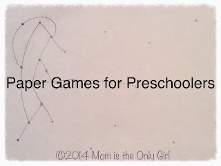 Pencil and paper games for preschoolers and young elementary at http://www.momistheonlygirl.com