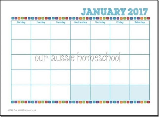 Blank Calendar Printable - Our Aussie Homeschool
