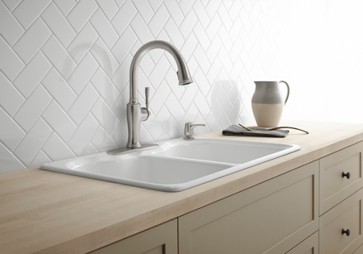 While At Lowes We Checked Out The Kohler Cardale Vibrant Stainless  Handle Pull Down Kitchen Faucet And The Kohler Elliston Polished Chrome  Handle