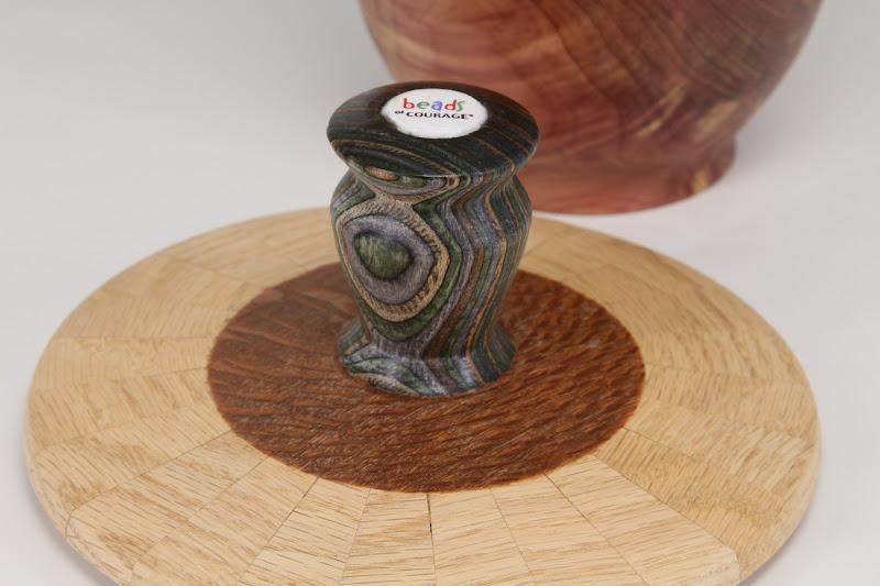 "Bob Grudburg 6"" x 4"" Beads of Courage box [cedar, maple, colored laminate, bead]"