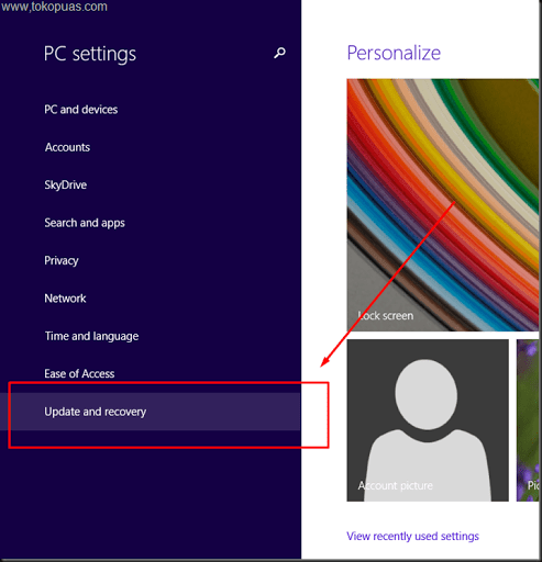 setting windows 8.1 kembali ke pengaturan awal