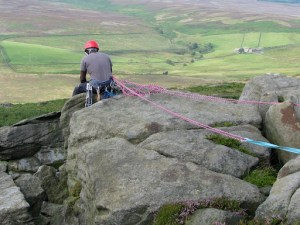 Rock climber on Stanage Edge