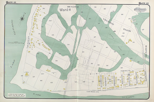 1910 Atlas of the City of Toronto, Island Park, showing plan numbers, lots & buildings c-r-151