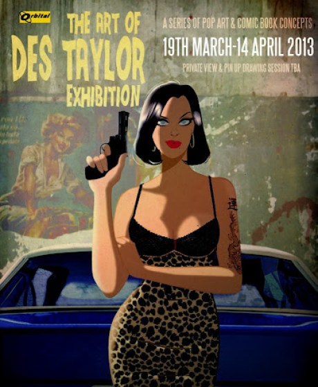 Art of Des Taylor exhibition poster