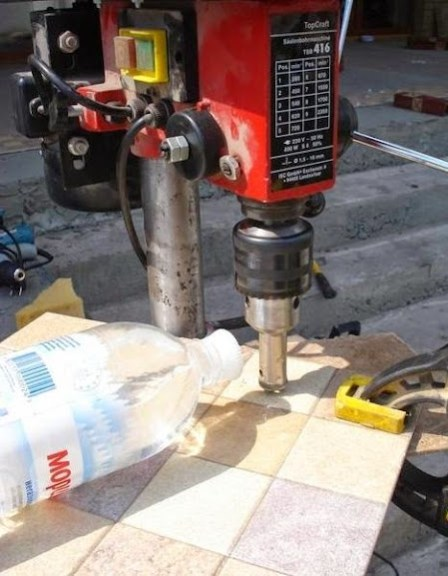 water Cooling when drilling porcelain tiles