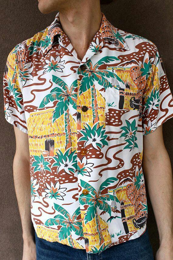 6 ways to wear a vintage style hawaiian shirt couture crib for Lsu hawaiian print shirts