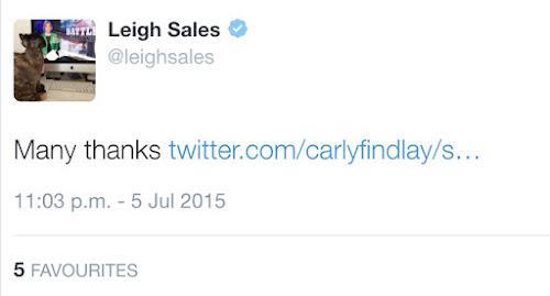 Leigh Sales tweet to Carly findlay