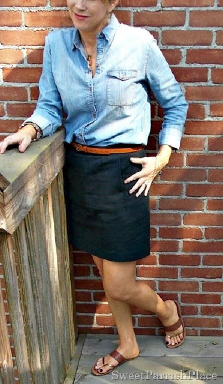 Black skirt, denim shirt, brown belt, brown sandals1