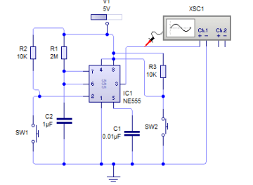 Mono-stable Mode Circuit of 555 timer IC
