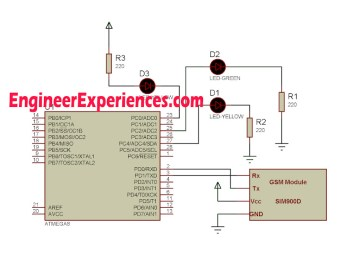 Circuit Diagram for LED interfaced with GSM Module