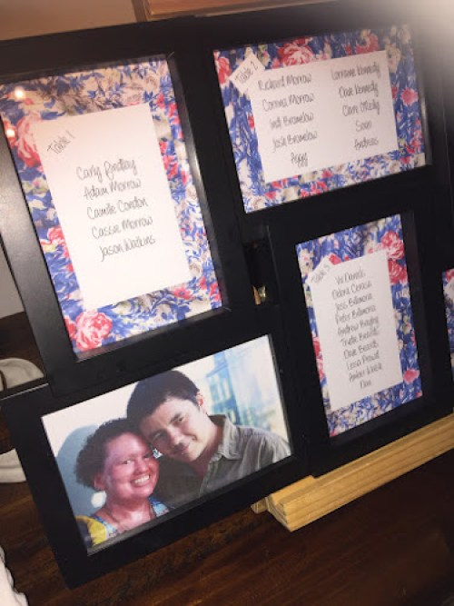 Photo frame filled with wedding table settings