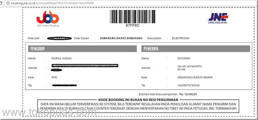 pengiriman packet jne online booking