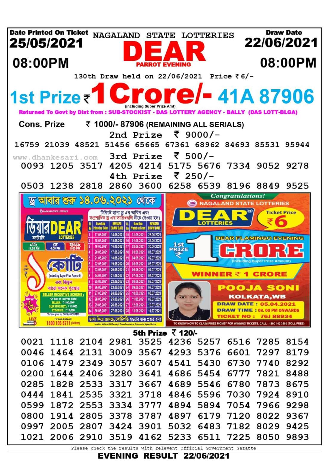 Nagaland State Lottery Result Today 8:00 PM 22.6.2021