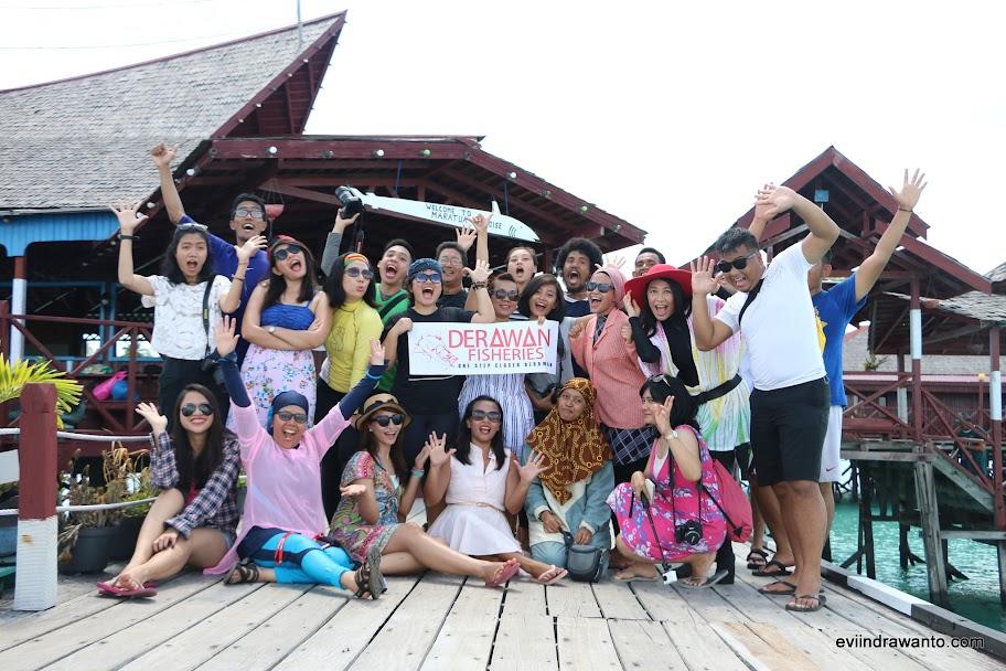 Rombongan ceria di Maratua Paradise Resort