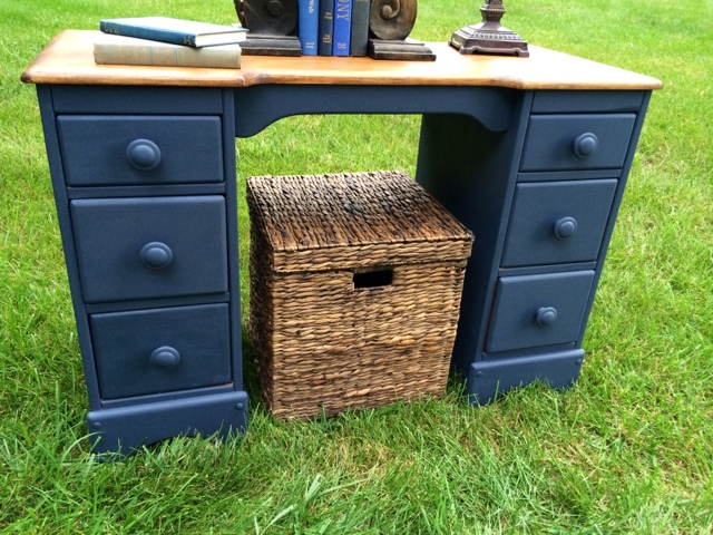 Hale Navy desk makeover from A Junkchick Life