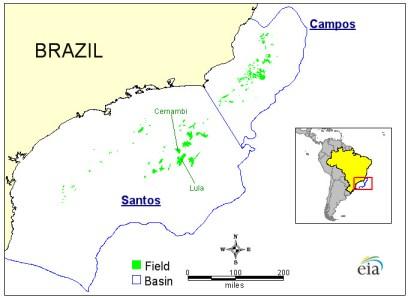 Campos and Santos basins Source:   U.S. Energy Information Administration (EIA), using Wood Mackenzie data