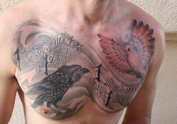 dove and crow chest tattoos for men