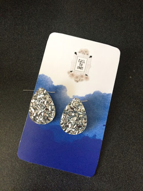 Silver foil earrings by Each to Own