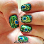 Stylish Peacock inspired nail paint