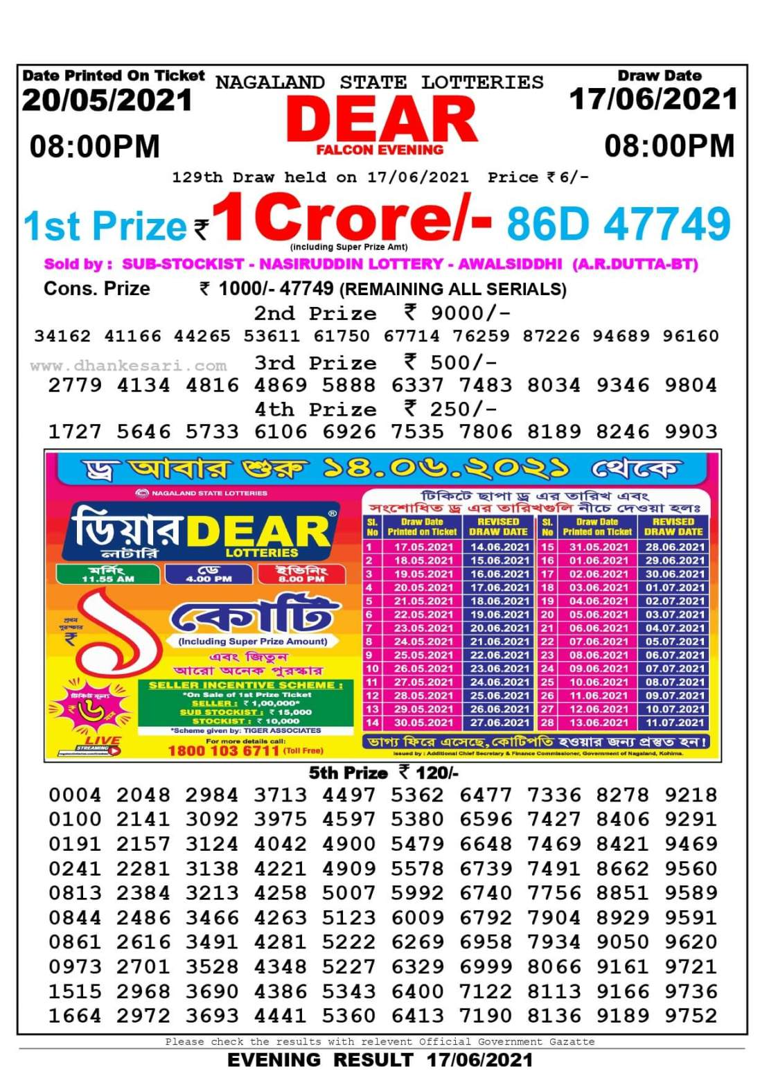 Nagaland State Lottery Result Today 8:00 PM 17.6.2021
