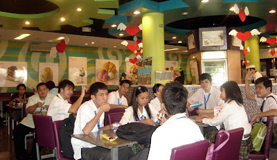 February 24: Students relax inside Nestle Ice Cream House while awaiting for plant tour.