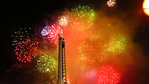 Fireworks then launched from the main square. Here's the fire truck's ladder in the foreground.