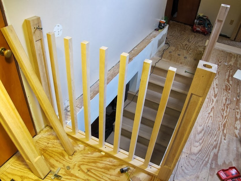 Sawmill Creek Woodworking Community | Handrail To Newel Post | Fasten | Baluster | White Oak | Glass Balustrade | Landing