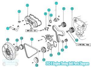 Toyota Pickup  Hilux Timing Belt Parts Diagram 3VZE Engine