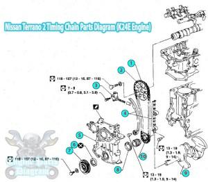 1996 Nissan Terrano 2 Timing Chain Parts Diagram K24E Engine