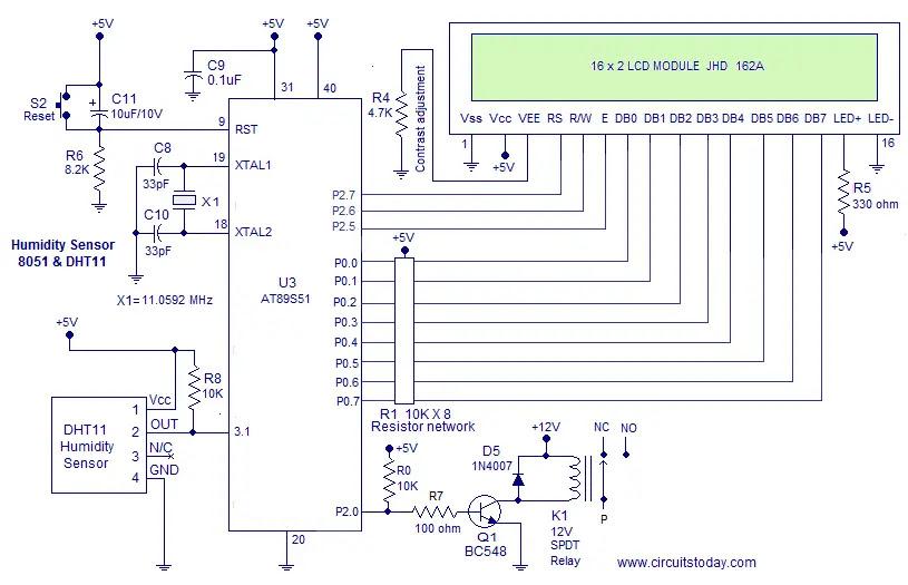 Humidity Sensor Using 8051 (Hygrometer)