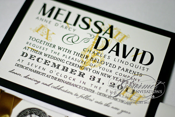 melissa + david: clock theme new year's eve wedding invitations, Wedding invitations