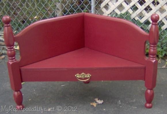 corner bench made from headboard
