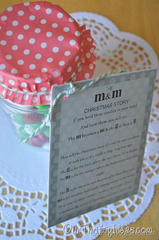 Our Thrifty Ideas: The M&M story printable for neighbor gift idea