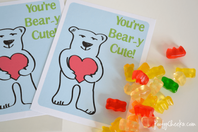 You're Bear-y Cute Gummy Bear Valentine Printable