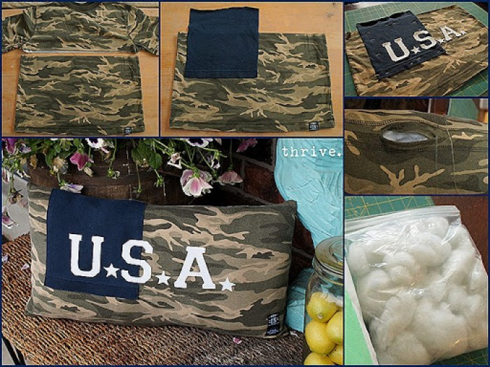 Make 4th of July pillows from t-shirts and old stuffed animal filling from THRIVE