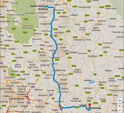 About 112 miles of A roads, Contraflows, Enforced 50mph roads, Dual Carriageway and Motorway (M1)