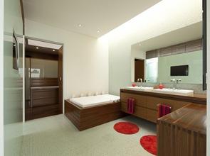 Baño de diseño con muebles en madera